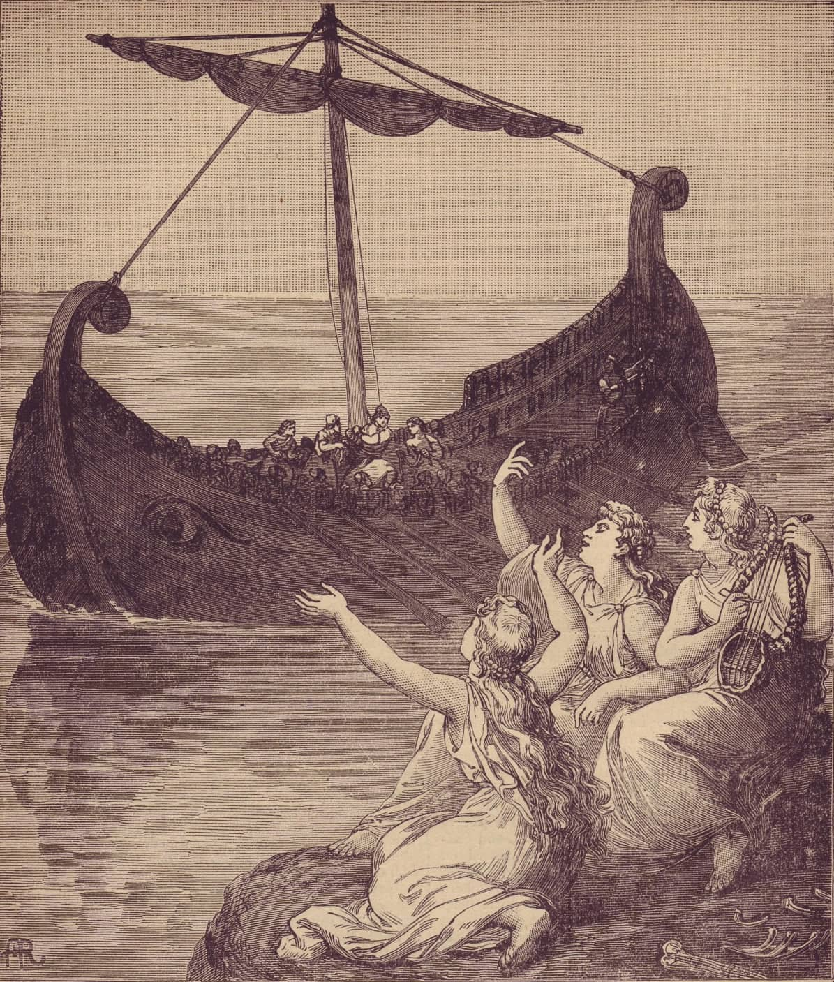 artwork of The sirens imploring Ulysses to stay 1886